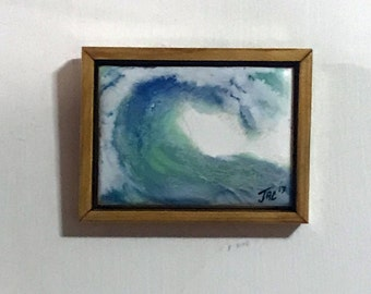 Breaking,   Miniature ACEO sized encaustic wax painting.  Framed.