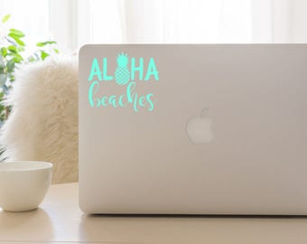 Pineapple decals, aloha beaches, tumbler decal, pineapple laptop decal, car decals, pineapple decal for cars, pineapple window decal, decals