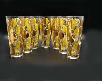 Citrus Slices Gold Highball Glasses Set 7 by Cora
