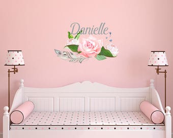 Floral Wall Decals Etsy - Custom vinyl wall decals flowers