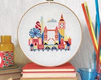 Pretty Little London - Satsuma Street Modern Cross stitch pattern PDF - Instant download