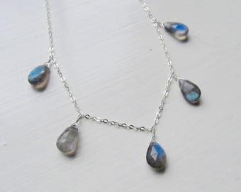 Labradorite necklace briolettes silver gold oxidized