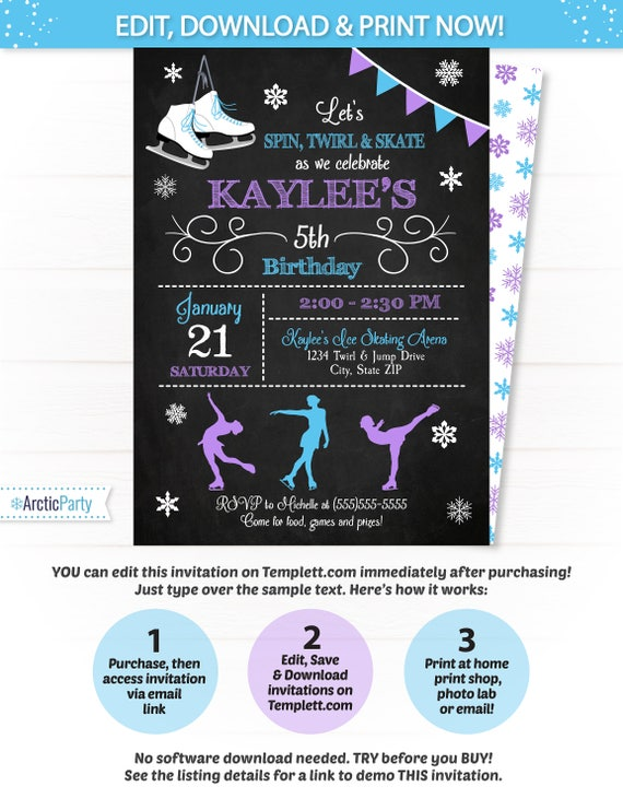 Ice skating invitation ice skating party invitations ice ice skating invitation ice skating party invitations ice skating birthday invitation ice skate party figure skating arctic party stopboris Gallery