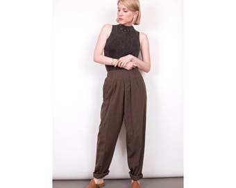 VTG 80s olive green high waisted trouser pants womens minimalist pleat 28 waist