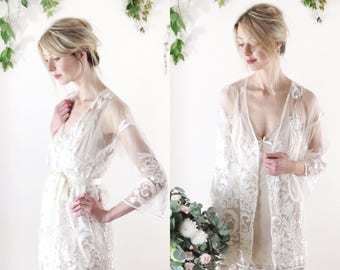 ARIA - bohemian lace kimono, dressing gown, bridal cover up - sz small / petite - ready to wear
