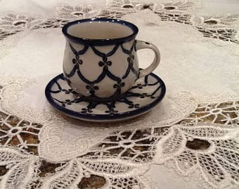 Polish Pottery Espresso Cup and Saucer - Cute!