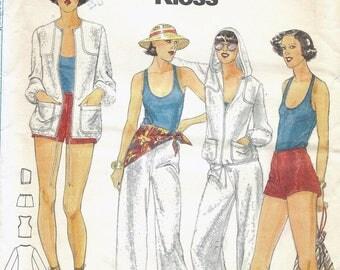 70s Butterick 5457 Designer John Kloss Misses' Jacket, Top, Pants & Shorts Sewing Pattern UNCUT