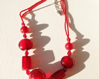 Necklace - red glass bead necklace