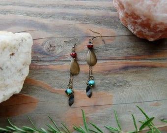 Bohemian Dangle Earrings, Teardrop Earrings, Turquoise and Red Earrings, Feather Earrings, Boho Chic, Bohemian Jewelry