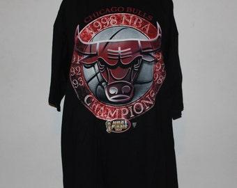 Vintage Chicago Bulls 1998 NBA Champions STARTER T-Shirt XL