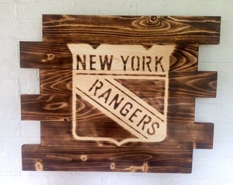 New York Rangers rustic burned wood hockey sign- Man Cave Sign