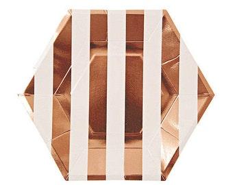 "SALE! Rose Gold Striped Paper Plates (Set of 8) - 9x9"" - Meri Meri Large Party Plates Metallic ROSE Gold"