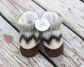 Toddler slippers size 7/8 shoe size, Alpaca wool with Organic Bamboo micro-fleece lining, 1 pair only, ready to ship