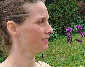 Labradorite pendant gold filled. Wire crochet jewellery. French hanmade jewelry. Capricorn woman jewelry. woman anniversary gift.