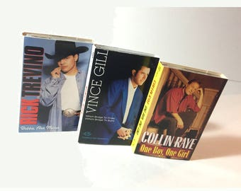 3 Country Music Cassette Singles, Vince Gill, Collin Raye, Rick Trevino, Vintage Hit Cassette Tape Singles, Excellent Condition, 1990s
