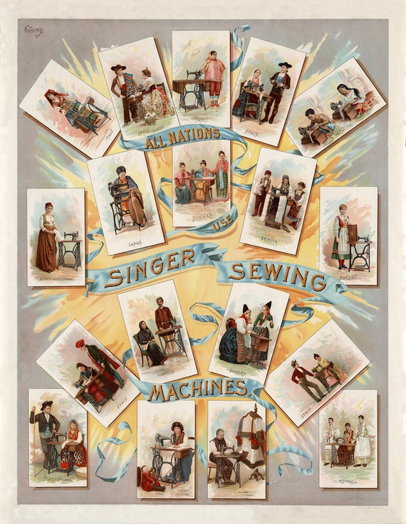 1892 Singer Sewing Machine Sewing Room Wall Art Home Decor Restoration Hardware Style Vintage Poster Sewing Office Quilting room wall Decor