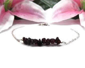 Sterling Silver Garnet Bracelet - Minimalist Birthstone Bracelet - January Birthstone Bracelet - Natural Red Gemstone Bracelet