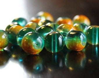 20 glass beads, 10 mm, round and smooth, transparent baking painted, hole 1 mm, orange, yellow, green, and aqua