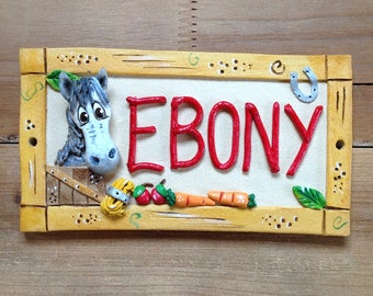 Horse Name Plaque, Personalised Stable Sign, Stall Plate for Horses and Donkeys, Ceramic