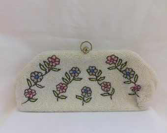 Vintage Walborg beaded purse=hand made in Belgium clutch- handbag=beaded purse with rhinestone clasp=vintage Walborg beaded floral handbag