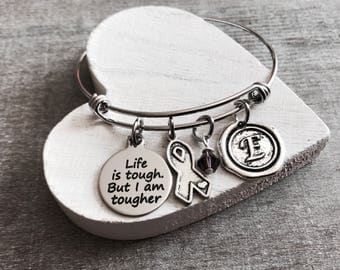 Life is tough but I am tougher, Silver Bracelet, Fighter, Survivor, Cancer, Gray Ribbon, Awareness Ribbon, Cancer Survivor, Brain Tumors