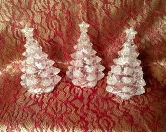 Set of 3 Plastic Christmas Ornaments, Figurines - Clear Evergreen Trees, Silver Glitter on Tips of Branches - Nativity, Christmas Village