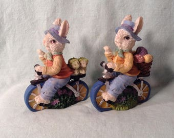 Set of 2 Miniature Bunny Rabbits Riding Bicycles - Pair of Bunnies on Bikes - Easter, Springtime Decor