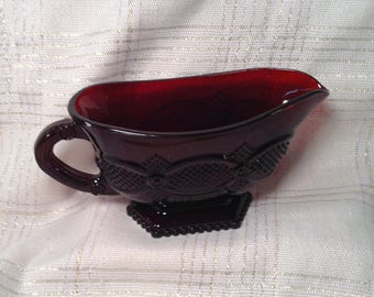 Avon Ruby Red Glass Gravy Boat - 1896 Cape Cod Collection, 1980's - Ruby Red Wedding Theme, Festive Christmas Serving Dish