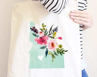 Idaho Canvas Bag, State Bag with Flowers