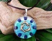 Orgone Pendant - Lapis Lazuli - Dolphin Circle - Third Eye Throat Chakra Healing Lightworker Jewellery - Positive Energy - Medium