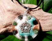 Orgone Pendant - Moss Agate - Pentacle/Pentagram - Healing Lightworker Jewellery - Wicca Pagan - Positive Energy - Healing Jewelry - Large