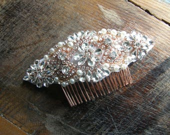 Bridal Hair Comb, Rose Gold Wedding Comb, Wedding Head Comb, Wedding Headpiece, Rhinestone Head Comb, Wedding Comb, Bridal Hair Comb