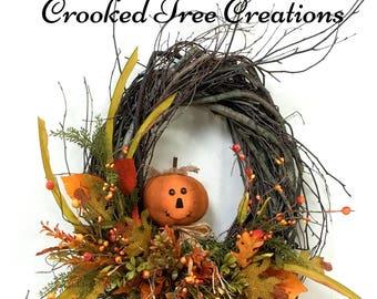 Fall Wreath, Pumpkin Wreath, Fall Door Decor, Autumn Wreath, Harvest Wreath, Rustic Wreath, Fall Floral, Pumpkin, Birch Wreath, Fall Wreaths