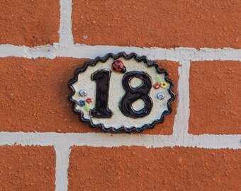 Ceramic House Numbers - 10 - 19 Door sign numerals