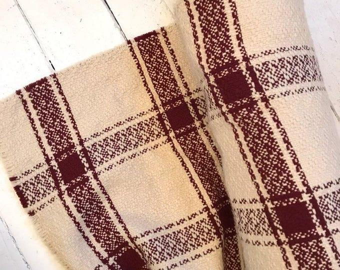 Malbec and Cream Woven Windowpane Plaid Wool Blend