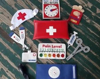 Vinyl Toy Nurse Bag and Kit , Dress Up , Pretend Play , Vinyl Nurse Play Set