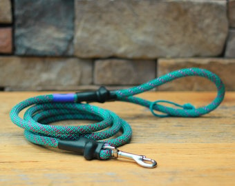 Climbing Rope Dog Leash // Teal Turquoise Pink Magenta Dog Leash // Upcycled Dog Leash // 6' Leash