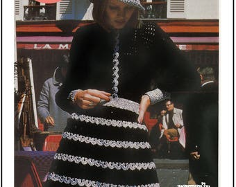 Crochet Pattern 1970s Skirt, Top and Hat - PDF Crochet Pattern - PDF Instant Download