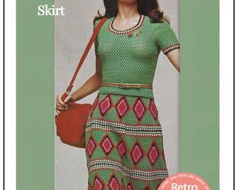 1970s Skirt and Top Retro Crochet Pattern - PDF Instant Download
