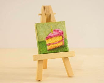 Birthday Cake Mini Painting with Easel, 2x2 Oil Painting
