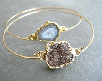 Druzy Crystal + Geode Gold Bangle Bracelet Pair