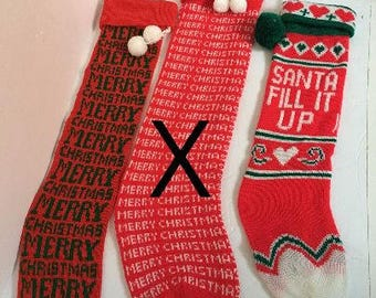 Vintage Knitted Christmas Stockings - Santa fill it up - PRICE PER STOCKING