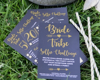 10 x Bride Tribe Hen Party Selfie Challenge Cards - Hen Night Games - Hen Party Game - Girls Night Out Activities