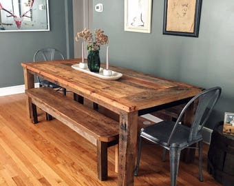 Reclaimed Wood Farmhouse Dining Table - Textured Finish