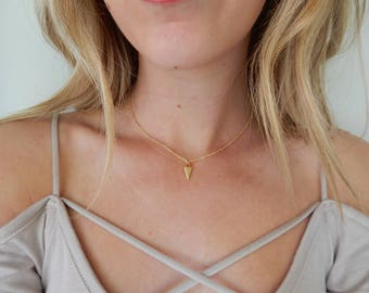 Gold Triangle Choker Necklace   Layering Choker   Simple Delicate Chain Necklace   Dainty Layering Necklace   Dainty Choker Necklace   Gold