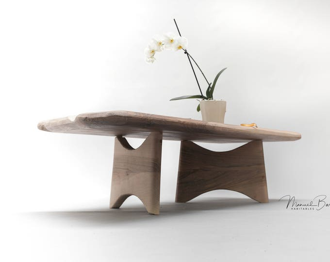 Coffee table, center table , living room table made of solid spanish Walnut board