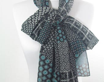 Mothers Day Gift For Her Patchwork Scarf Chiffon Black Scarf Shawl Infinity Scarf Loop Scarf Spring Summer Fall Mom Fashion Accessories 93