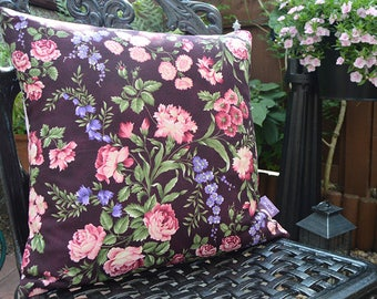 """Handmade 16""""x16"""" Floral Cotton Cushion Pillow Cover in Pink & Purple Giselle Cottage Garden Print"""