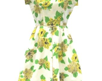 Original Vintage 1950's Yellow Floral Dress UK 6