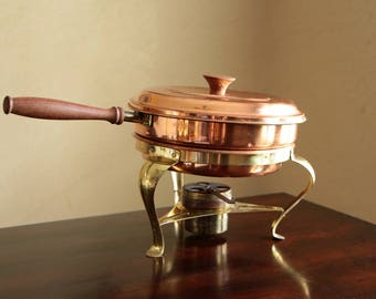 Vintage copper fondue warming pot with wood handle and stand made in Portugal / Copper brass chafing dish / double boiler